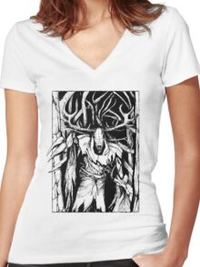 Leshen (Black) Women's Fitted V-Neck T-Shirt