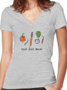 cool dirt meat Women's Fitted V-Neck T-Shirt