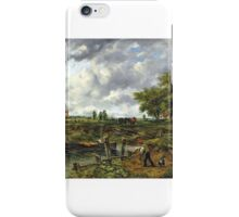 Frederick Waters Watts - An extensive landscape with a barge approaching a lock, with cattle and a windmill beyond iPhone Case/Skin