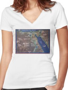 Map of Ancient Egypt Women's Fitted V-Neck T-Shirt