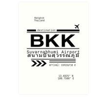 BKK Bangkok, Thailand airport Call Letters Art Print