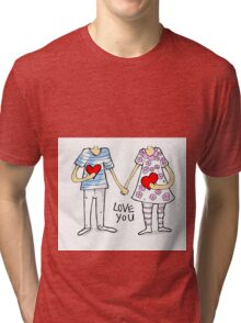 Cartoon couple Tri-blend T-Shirt