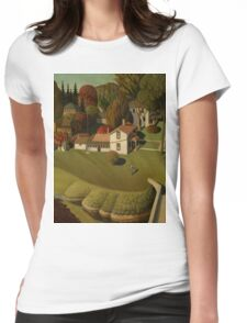 Grant Wood - Birthplace Of Herbert Hoover. Landscape Womens Fitted T-Shirt