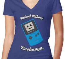 Raised without Recharge Women's Fitted V-Neck T-Shirt