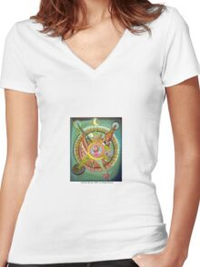 La historia del sol by Diego Manuel Women's Fitted V-Neck T-Shirt