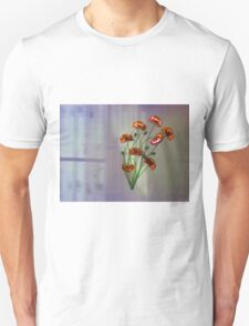 Wall flower with textured colour background Unisex T-Shirt
