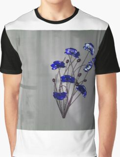 Wall flowers Blue on texture background Graphic T-Shirt