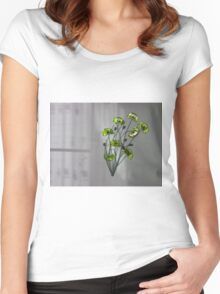 Wall Flowers Green on texture background Women's Fitted Scoop T-Shirt