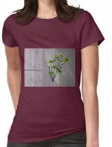 Wall Flowers Green on texture background Womens Fitted T-Shirt