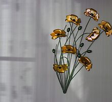 Wall flowers gold with textured colour background by Robert Gipson