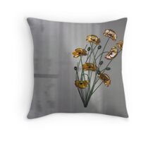 Wall flowers gold with textured colour background Throw Pillow