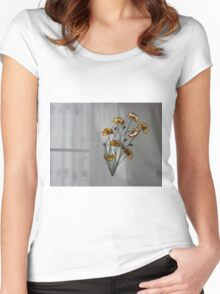 Wall flowers gold with textured colour background Women's Fitted Scoop T-Shirt