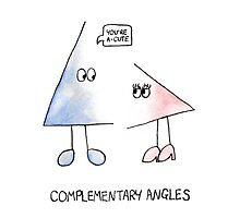 Complementary Angles - Maths Pun Watercolour Card Photographic Print