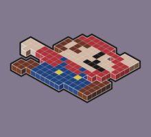 Isometric Gamer - Mario (Black outline) Kids Tee