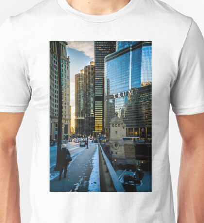 Looking West on Chicago's Wacker Drive Unisex T-Shirt