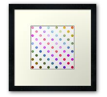 Rainbow Red Green Teal Blue Purple White Polka Dot Digital Paper Framed Print