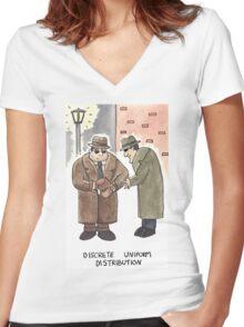 Discrete Uniform Distribution - Maths Pun Watercolour Card Women's Fitted V-Neck T-Shirt