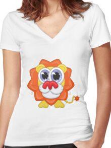 Cartoon lion Women's Fitted V-Neck T-Shirt