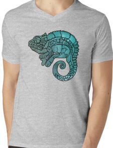 Chameleon in ethnic decorative ornamental manner Mens V-Neck T-Shirt