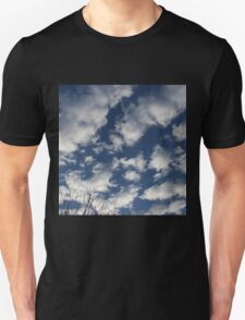 Blue sky happy clouds Unisex T-Shirt