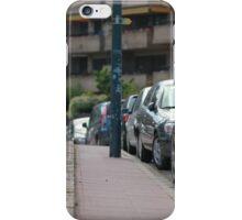 sidewalk and line of cars leaving afar iPhone Case/Skin