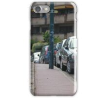 sidewalk and line of cars leaving afar iPhone Case/Skin