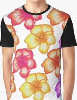 Colorful Tropical Watercolor Hibiscus Flowers Graphic T-Shirt