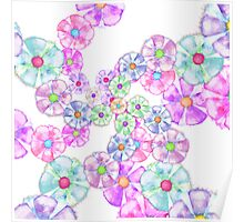 Cute Hand Painted Watercolor Floral Spiral Poster