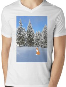 A fox in the snow. Mens V-Neck T-Shirt