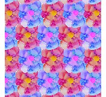Artsy Pink Blue and Purple Watercolor Flowers Photographic Print