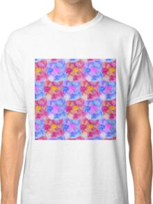 Artsy Pink Blue and Purple Watercolor Flowers Classic T-Shirt