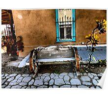 Old Town Albuquerque Wagon Wheel Bench & Orb Above Poster