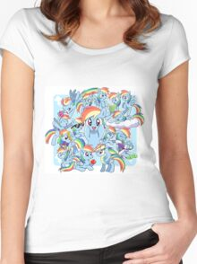 Every Rainbow Dash EVER Women's Fitted Scoop T-Shirt