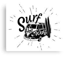 Surf the wave retro style Canvas Print