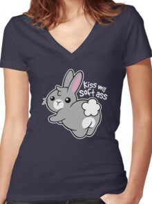 Bunny soft ass Women's Fitted V-Neck T-Shirt
