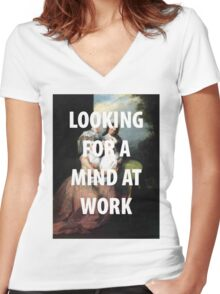A MIND AT WORK Women's Fitted V-Neck T-Shirt