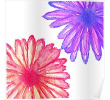 Pretty Pink and Purple Hand Painted Flowers Poster