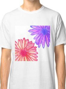 Pretty Pink and Purple Hand Painted Flowers Classic T-Shirt