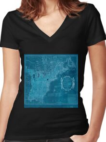 American Revolutionary War Era Maps 1750-1786 352 Bowles's new pocket map of the United States of America the British possessions of Canada Nova Scotia and Inverted Women's Fitted V-Neck T-Shirt