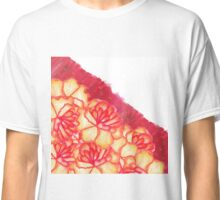 Peach and Red Hand Panted Flowers and Brushstrokes Classic T-Shirt