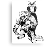 Snapping Turtle and Owl Metal Print
