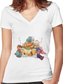 Bowser Mario Mallow Peach and Geno Women's Fitted V-Neck T-Shirt