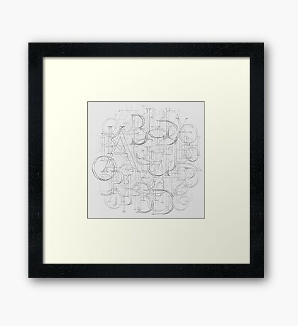 Antique Alphabet in Round Framed Print