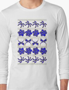 Gold n' Blue Tropical Trimming Long Sleeve T-Shirt