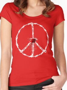 barbed wired peace with blood Women's Fitted Scoop T-Shirt