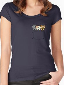 Neko Atsume Pocketed Women's Fitted Scoop T-Shirt
