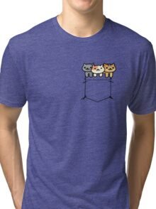 Neko Atsume Pocketed Tri-blend T-Shirt