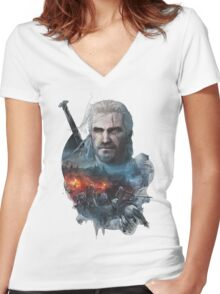 the witcher 3 wild hunt geralt of rivia #1 Women's Fitted V-Neck T-Shirt