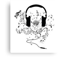Headphones and music notes Canvas Print