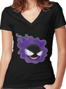 Ghost Types - Gastly - Purple Pattern Women's Fitted V-Neck T-Shirt